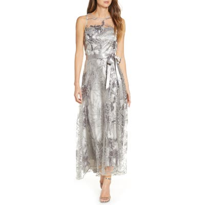Tahari Sequin Embroidered High/low Gown, Grey