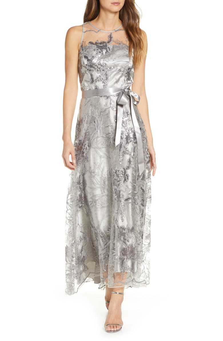 TAHARI Sequin Embroidered High/Low Gown, Main, color, SILVER FLORAL