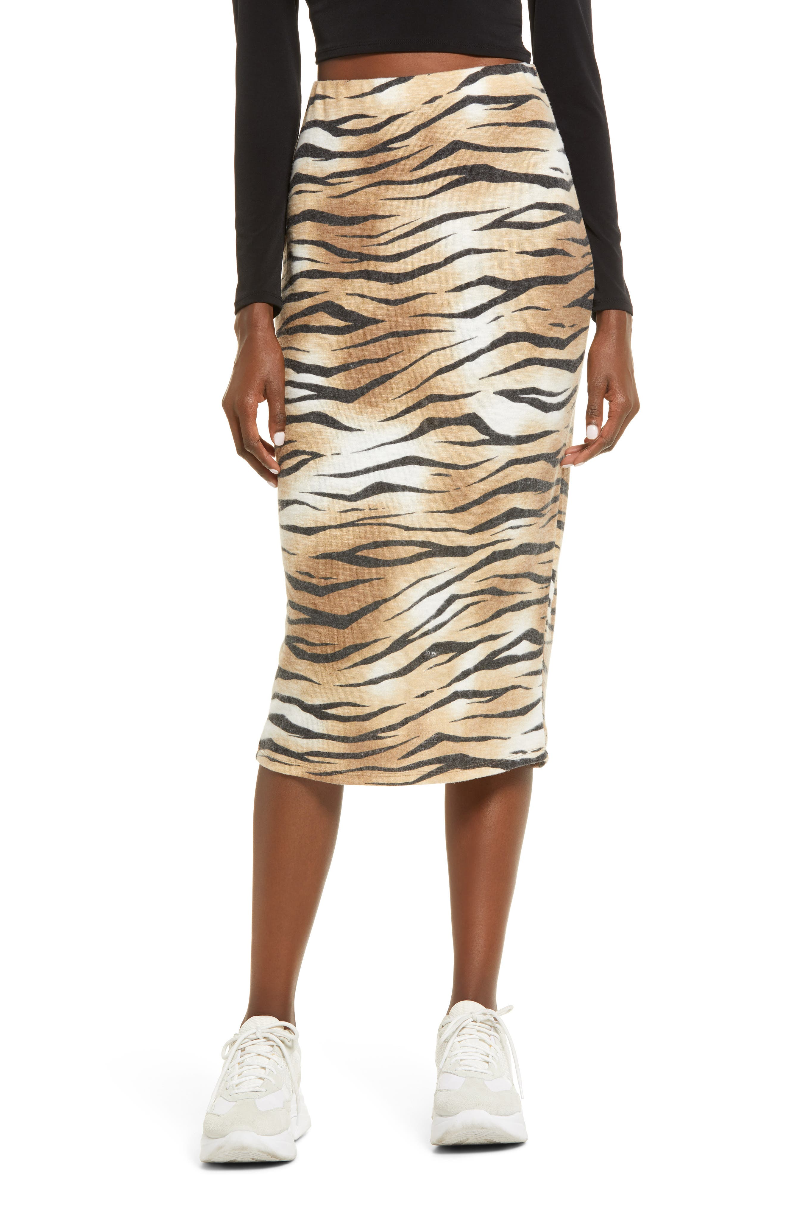 Tiger stripes keep a figure-hugging midi skirt undeniably fierce no matter what you choose to pair with it. Style Name: Leith Tiger Stripe Midi Skirt. Style Number: 6090844. Available in stores.