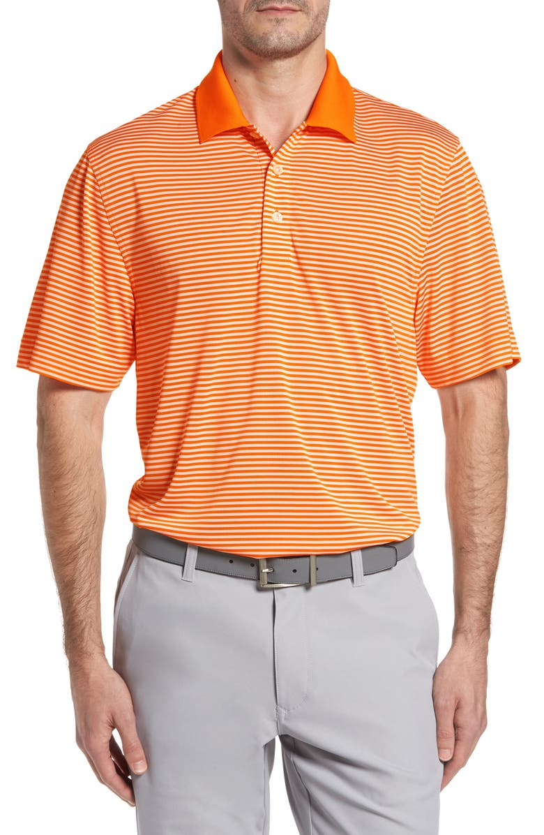 CUTTER & BUCK Trevor Stripe DryTec Polo, Main, color, BURNT ORANGE