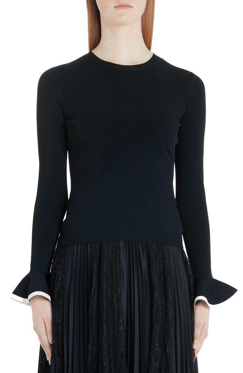 VALENTINO Flare Cuff Ribbed Sweater, Main, color, 0NA-BLACK/ IVORY