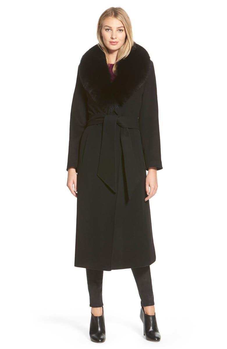 GEORGE SIMONTON 'Hollywood' Genuine Fox FurCollar Long Wrap Coat, Main, color, 001