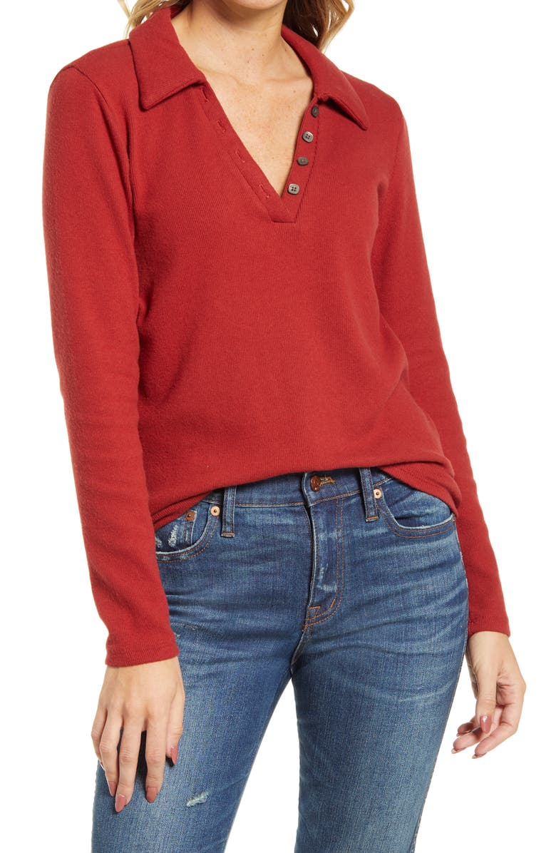 MADEWELL Women's Plush Ribbed Polo Shirt, Main, color, RUSTED RED