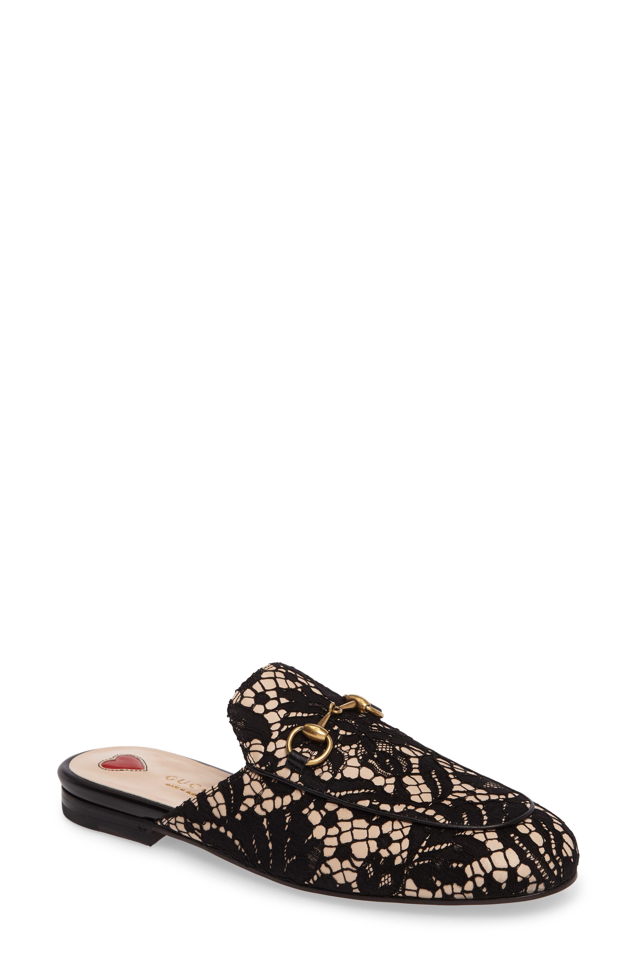gucci princetown lace slipper