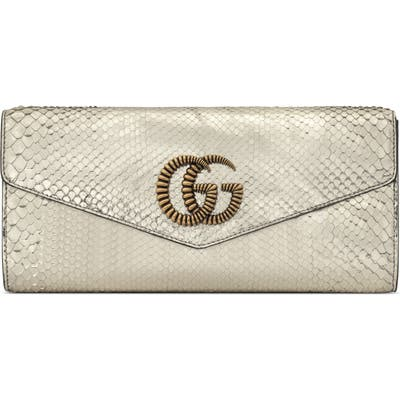 Gucci Broadway Genuine Snakeskin Evening Clutch - Metallic