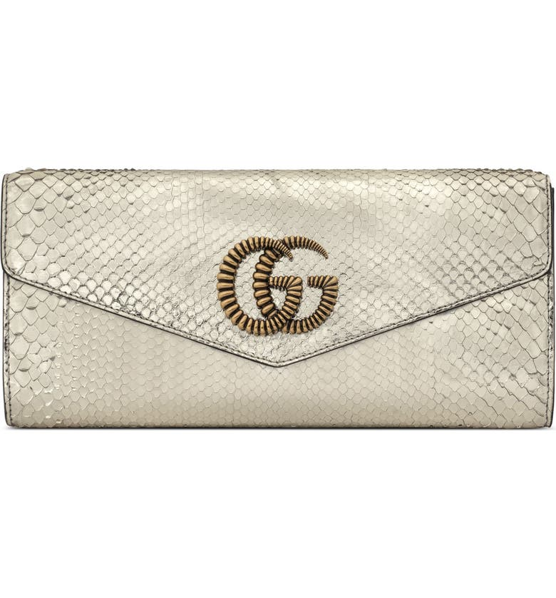 GUCCI Broadway Genuine Snakeskin Evening Clutch, Main, color, PLATINO