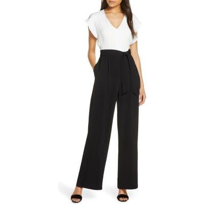 Petite Eliza J Short Sleeve Two-Tone Jumpsuit, Ivory