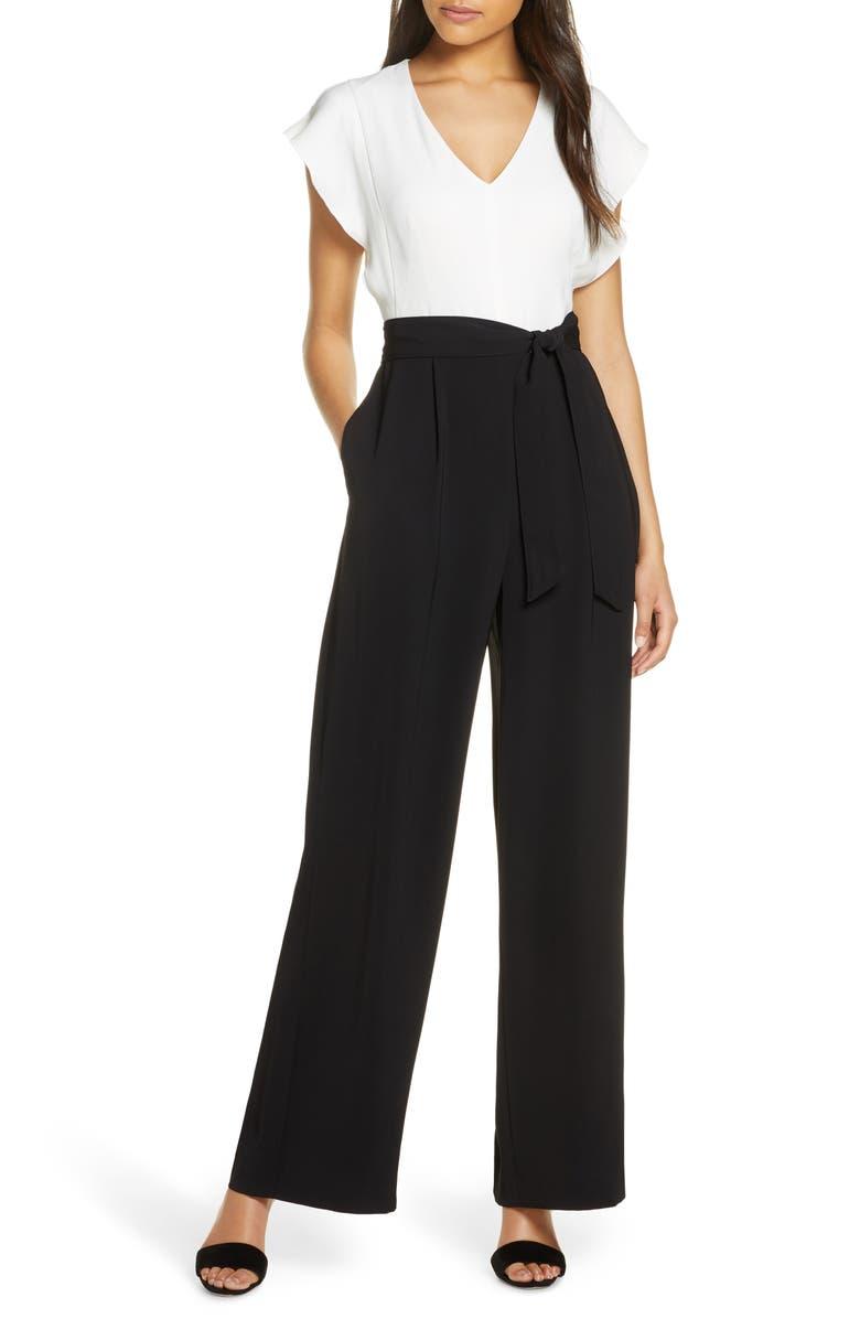 ELIZA J Short Sleeve Two-Tone Jumpsuit, Main, color, IVORY