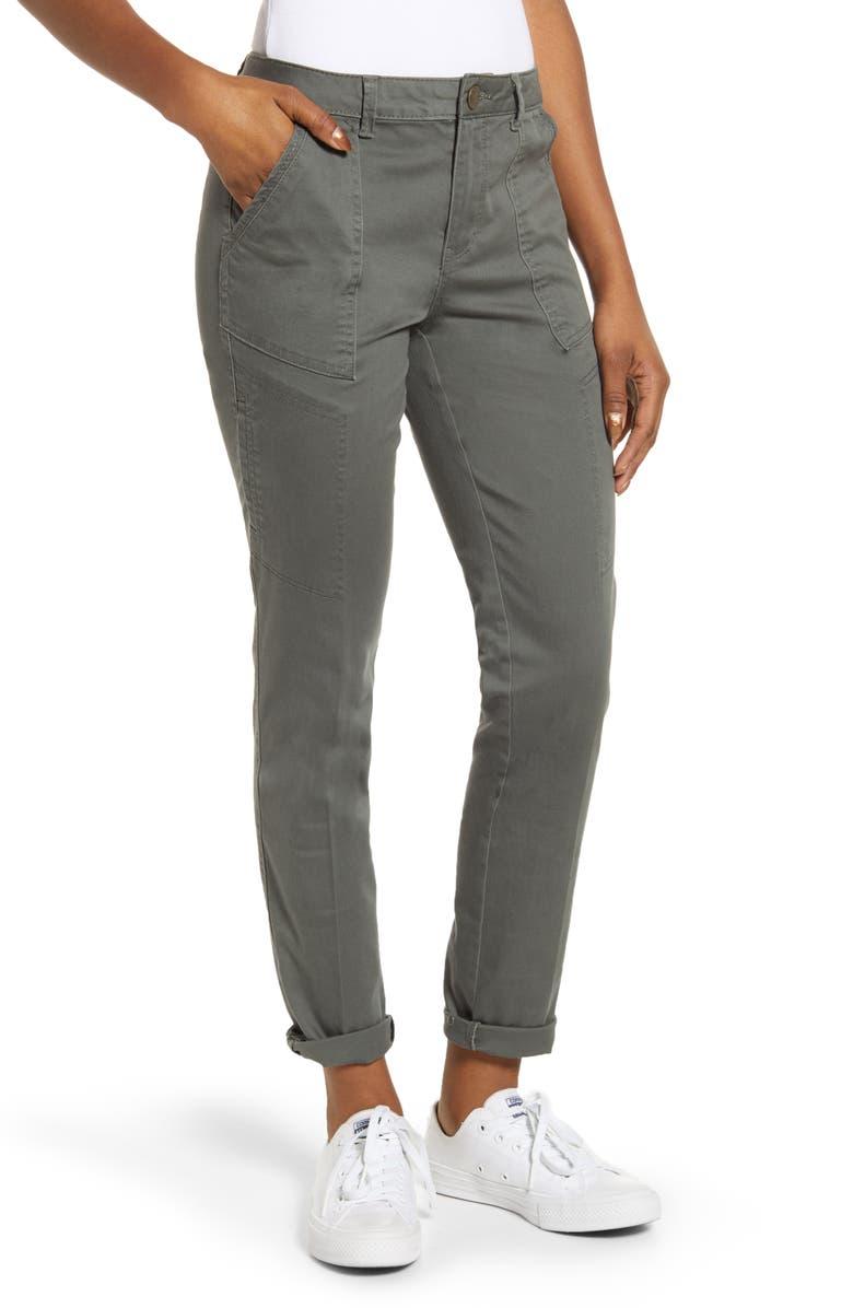 WIT & WISDOM Flex-ellent High Waist Cargo Pants, Main, color, THYME