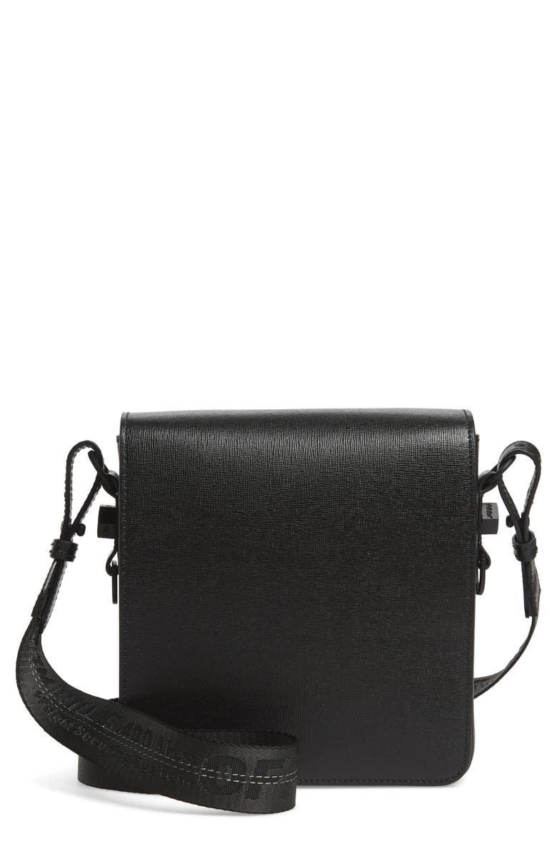 OFF-WHITE Leather Crossbody Bag, Main, color, BLACK