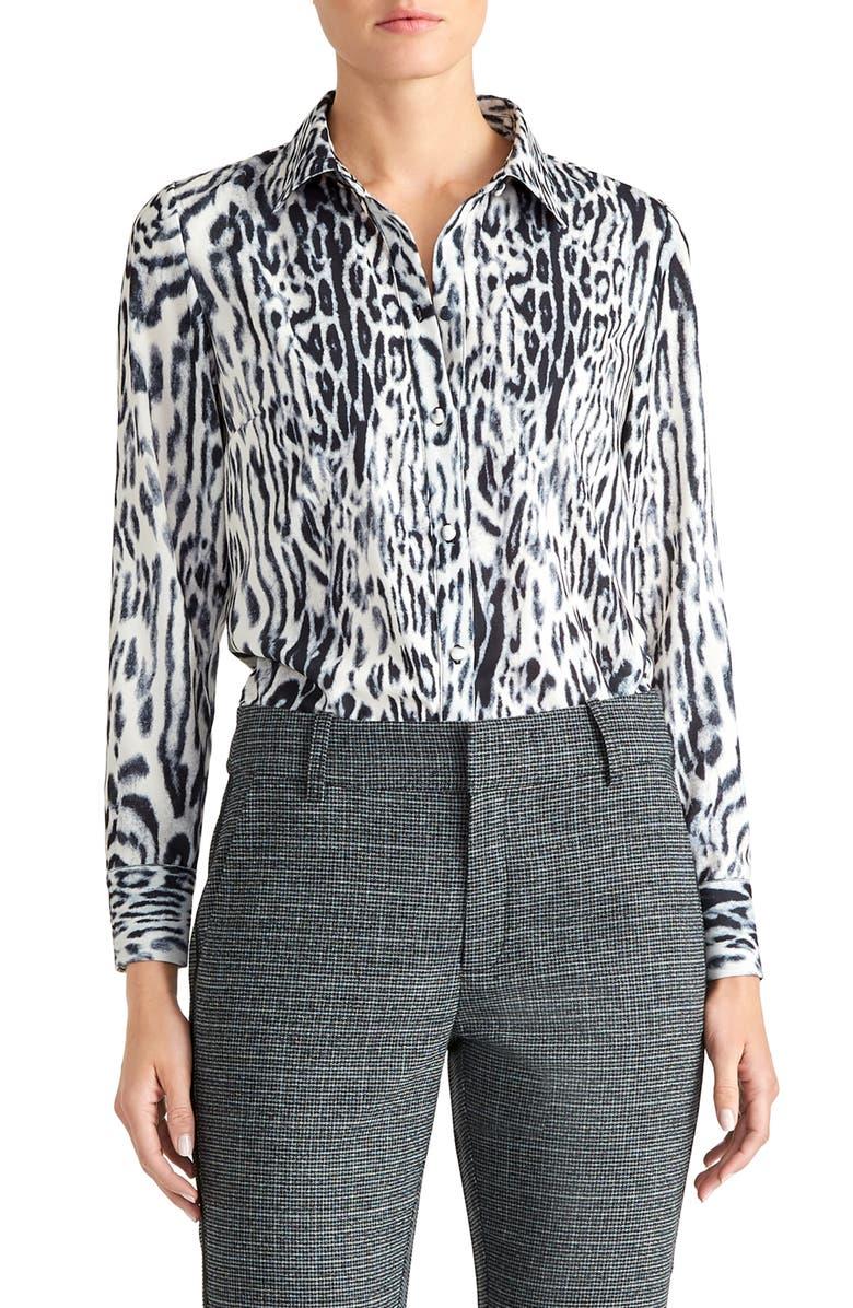 RACHEL ROY COLLECTION Leopard Print Blouse, Main, color, GREY COMBO