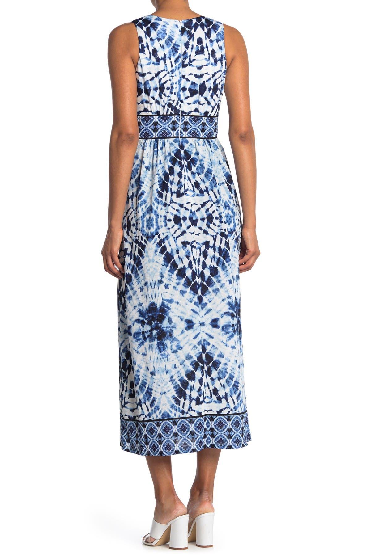 Image of London Times Tie-Dye V-Neck Sleeveless Maxi Dress
