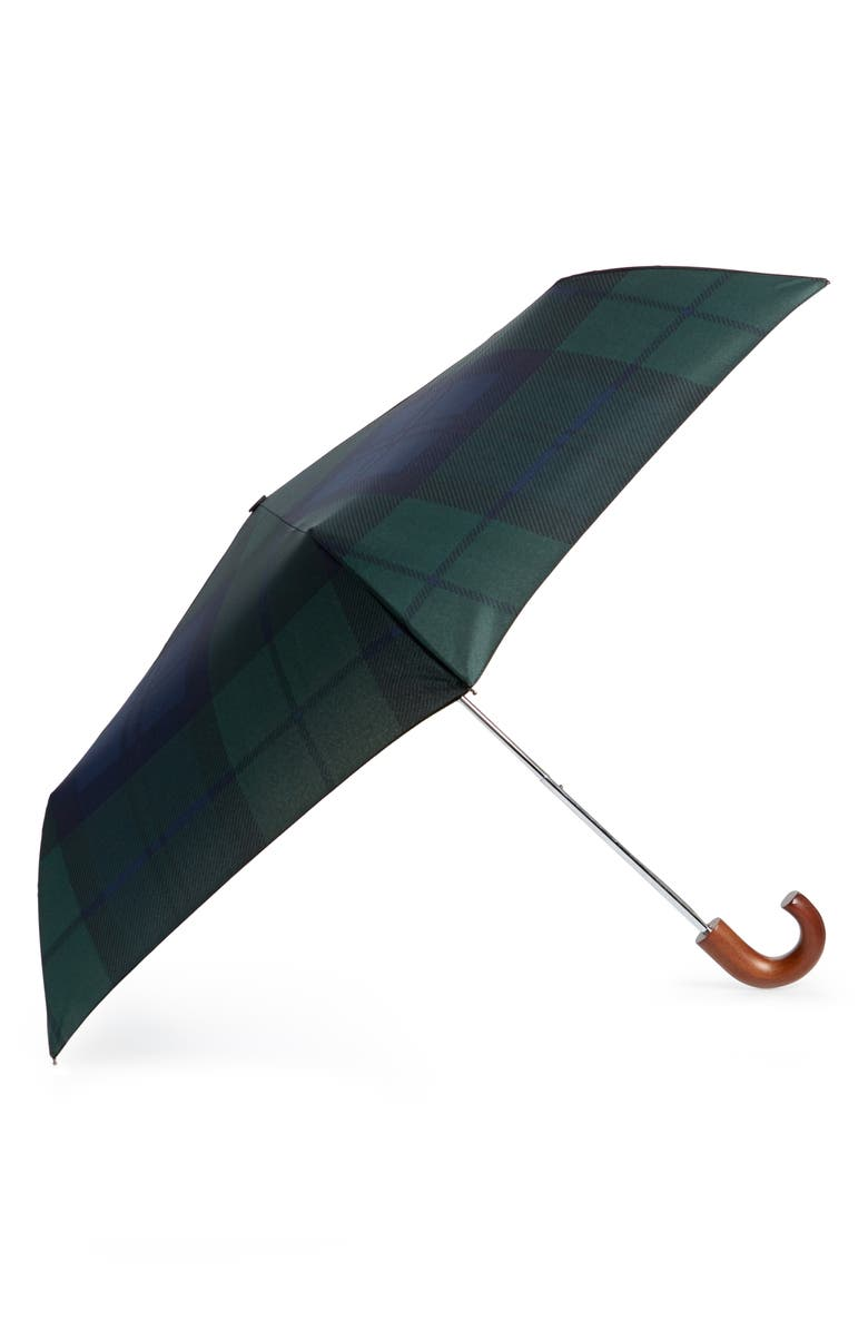 BARBOUR Tartan Plaid Mini Umbrella, Main, color, BLACK WATCH