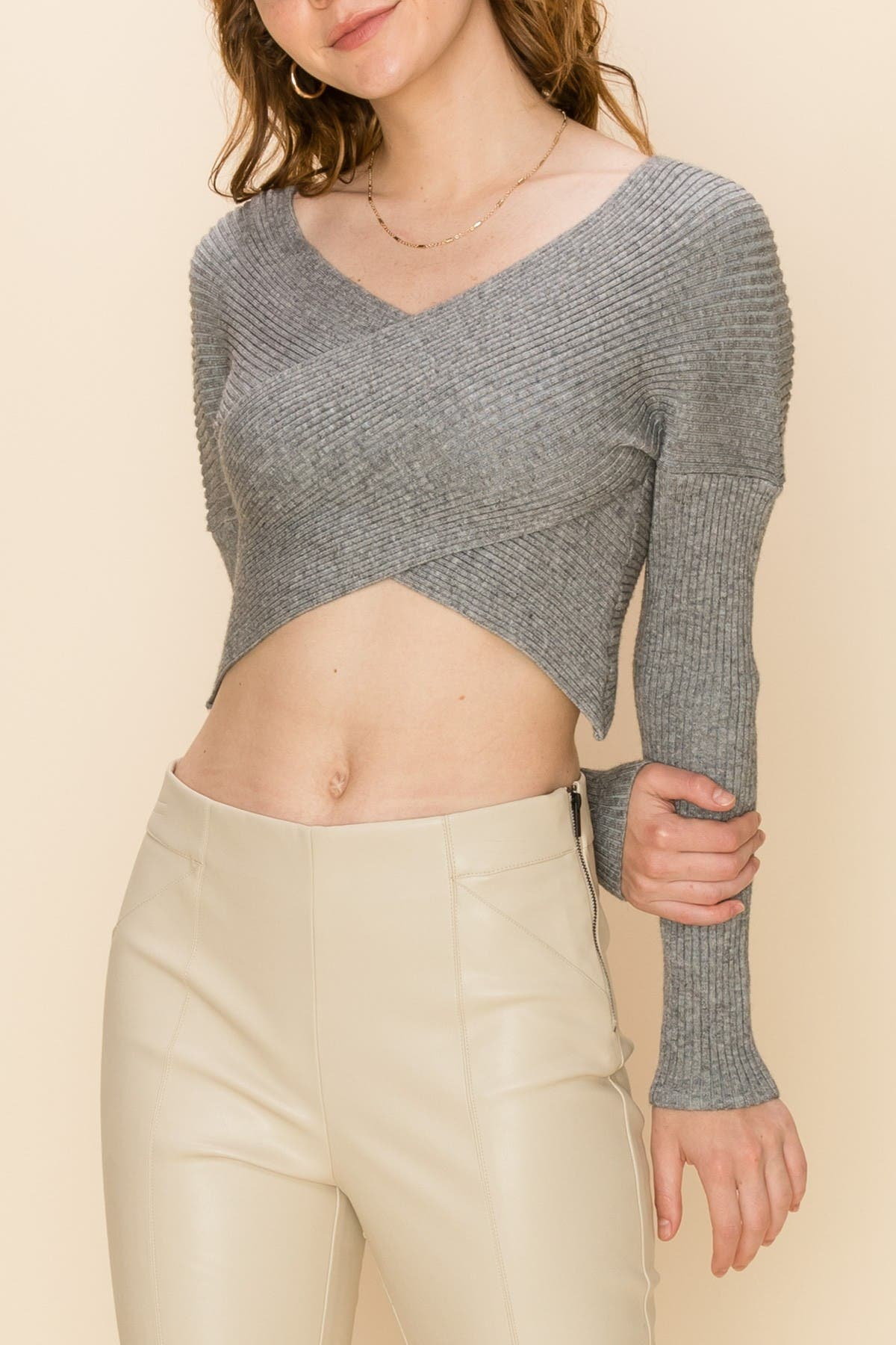 Image of HYFVE Ribbed Crossover Cropped Sweater