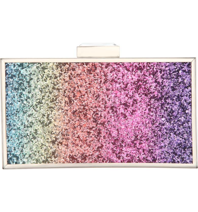 NINA Rainbow Glitter Minaudière, Main, color, RAINBOW