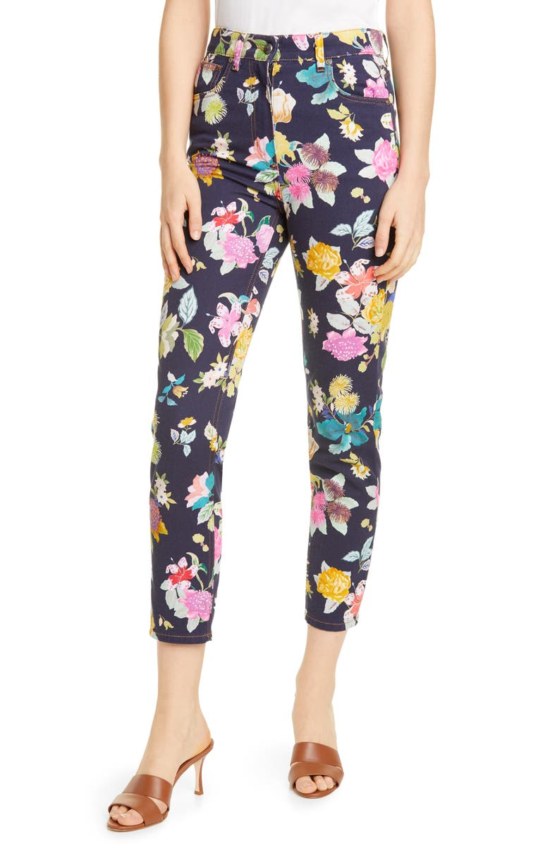 ETRO Floral Print Straight Leg Jeans, Main, color, PURPLE