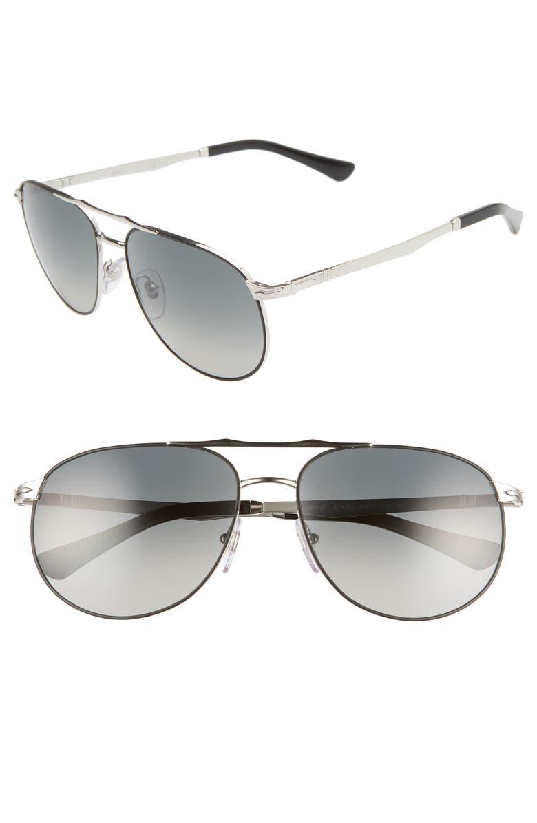 PERSOL 60mm Aviator Sunglasses, Main, color, BLACK/ SILVER/ GREY