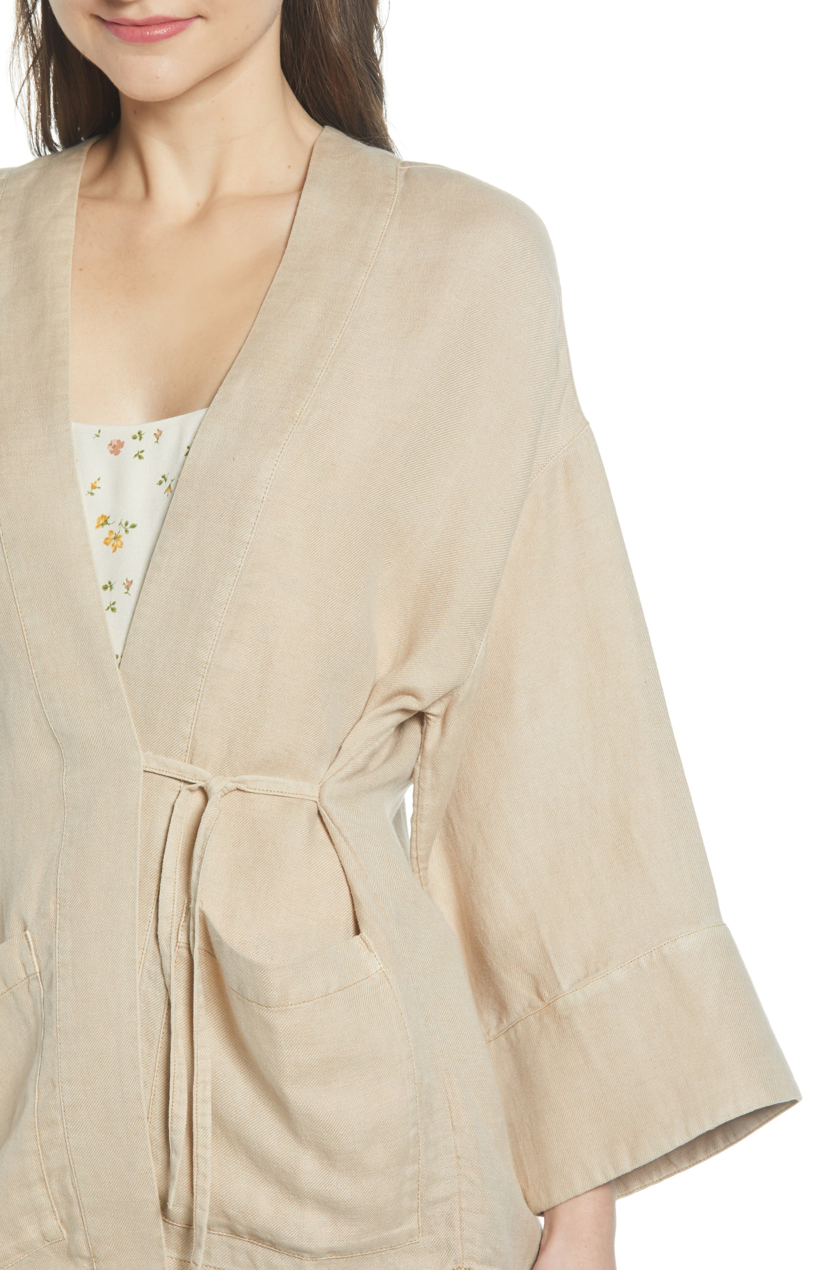 ,                             Linen Blend Wrap Jacket,                             Alternate thumbnail 5, color,                             BEIGE BIRCH