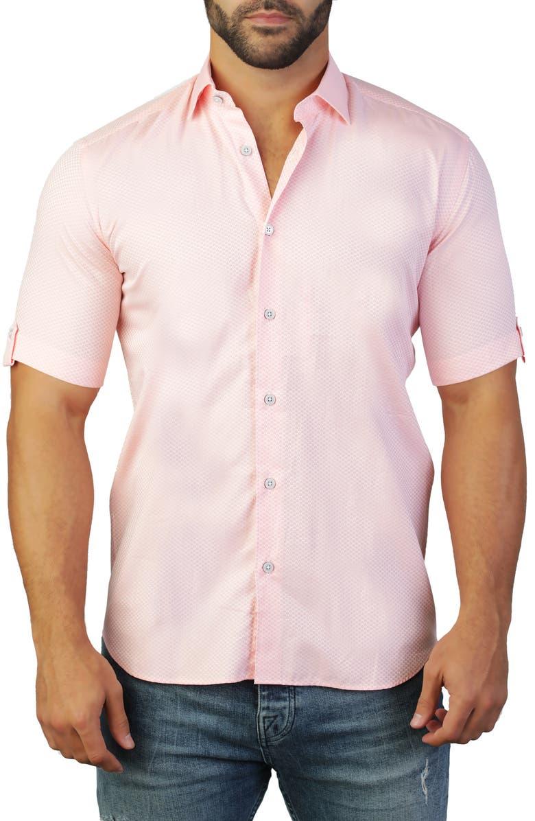 MACEOO Galileo Castle Pink Regular Fit Short Sleeve Shirt, Main, color, PINK