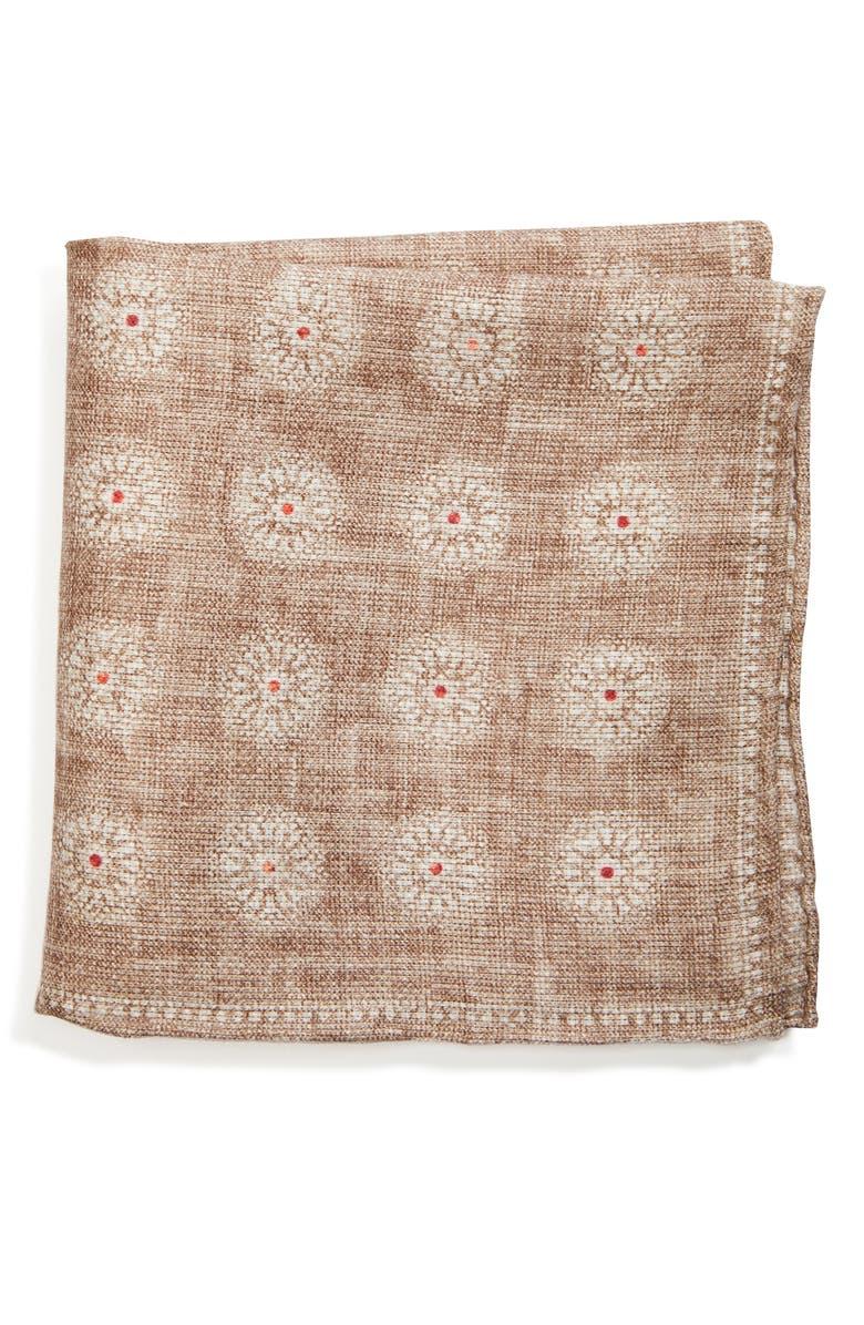 BRUNELLO CUCINELLI Medallion Linen & Cotton Pocket Square, Main, color, OYSTER
