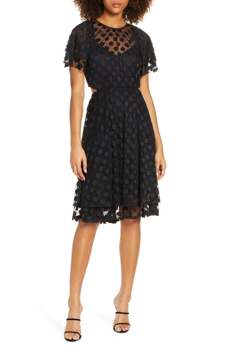 ALI & JAY JoJo Cutout Dot Mesh Dress, Main, color, BLACKBLACK