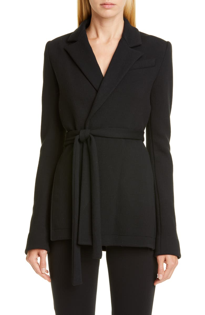 PROENZA SCHOULER Jersey Wrap Jacket, Main, color, BLACK