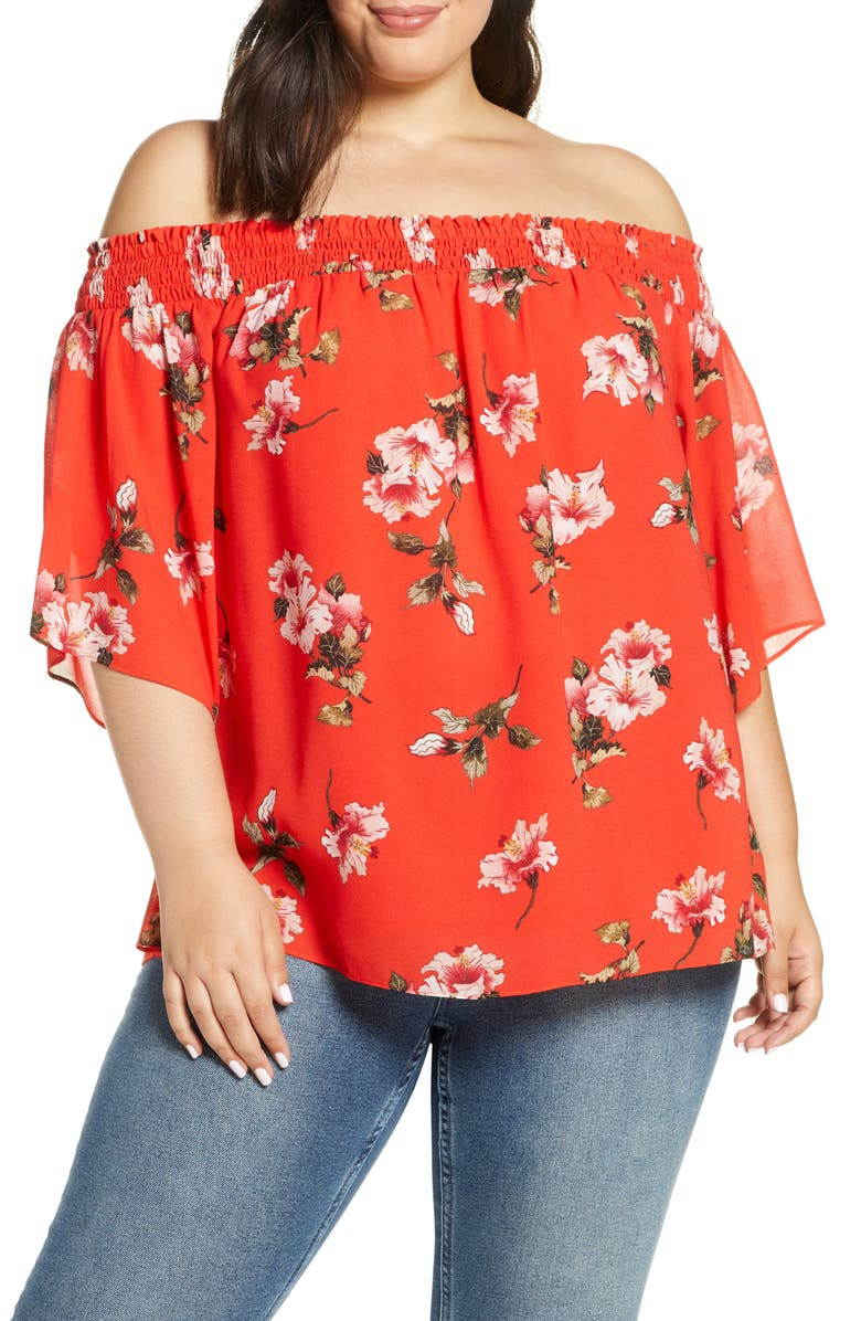 RACHEL ROY COLLECTION Off the Shoulder Top, Main, color, FLAME COMBO