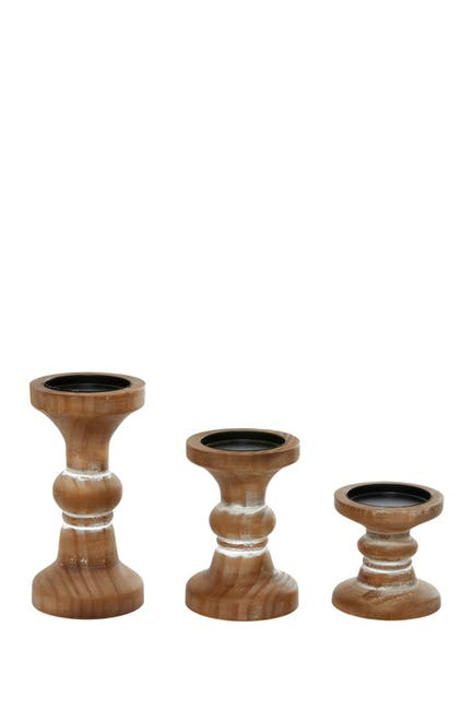 Image of Willow Row Brown Wood Farmhouse Candle Holder - Set of 3