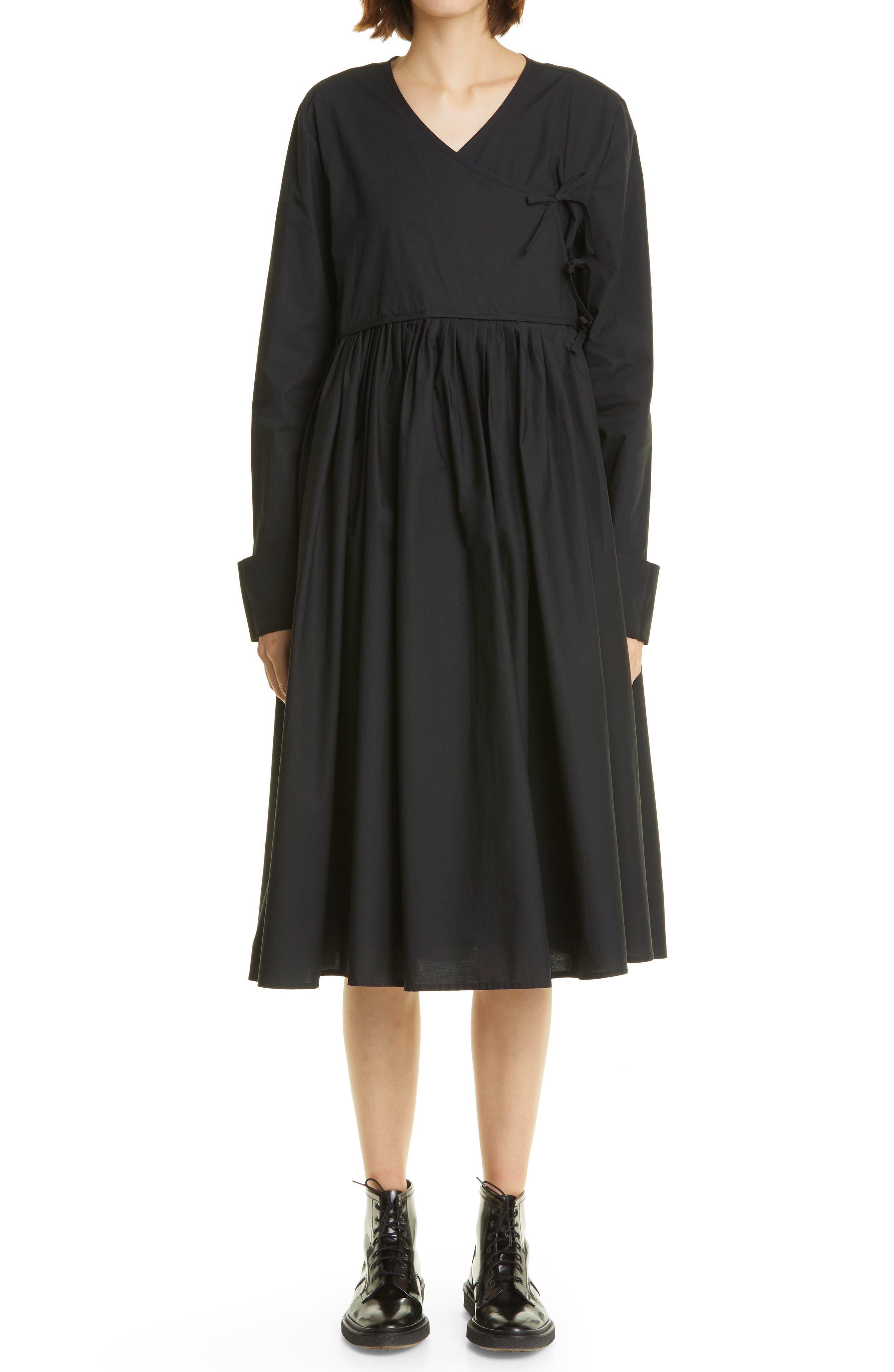Collier Pleat Long Sleeve Wrap Dress