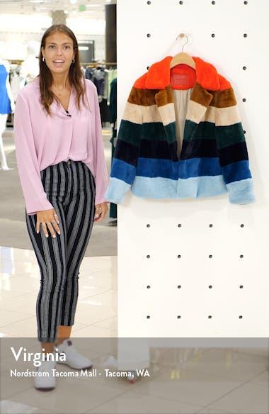 Stripe Faux Fur Jacket, sales video thumbnail