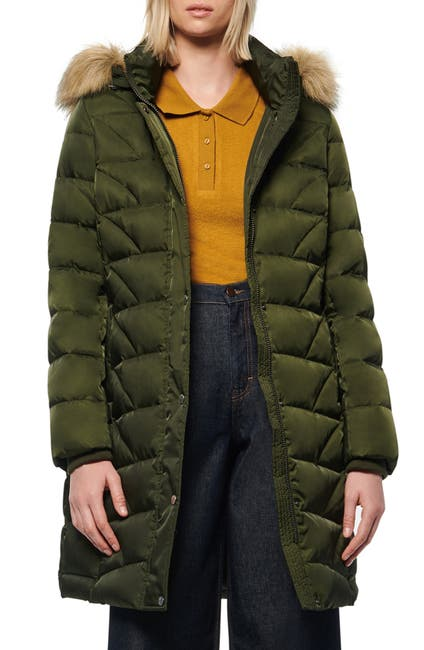Image of Andrew Marc Medina Faux Fur Trim Hood Puffer Jacket
