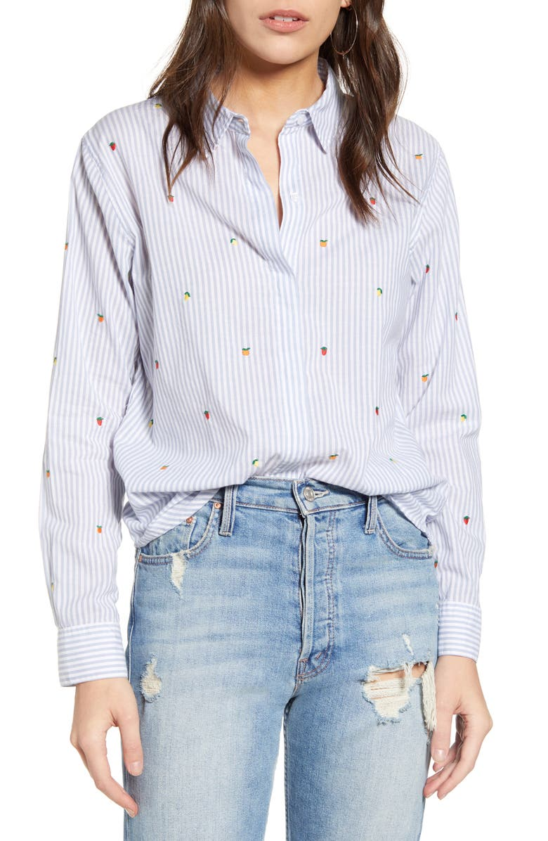 RAILS Taylor Embroidered Stripe Shirt, Main, color, EMBROIDERED CITRUS