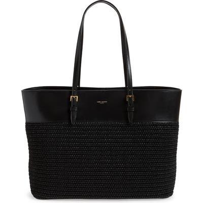 Saint Laurent Mini Shopping Raffia Tote - Black