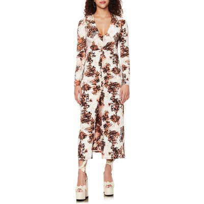 Afrm Zoey Animal Print Long Sleeve Dress, Beige