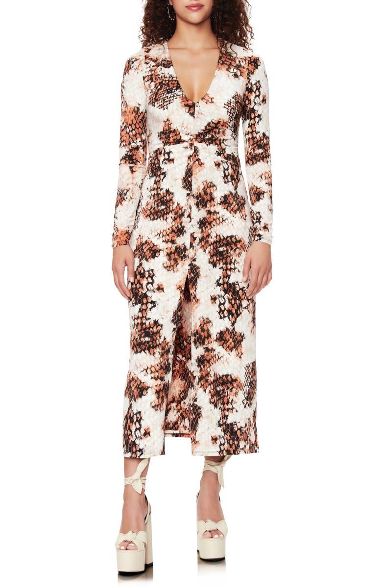 AFRM Zoey Animal Print Long Sleeve Dress, Main, color, STAMPED SNAKE