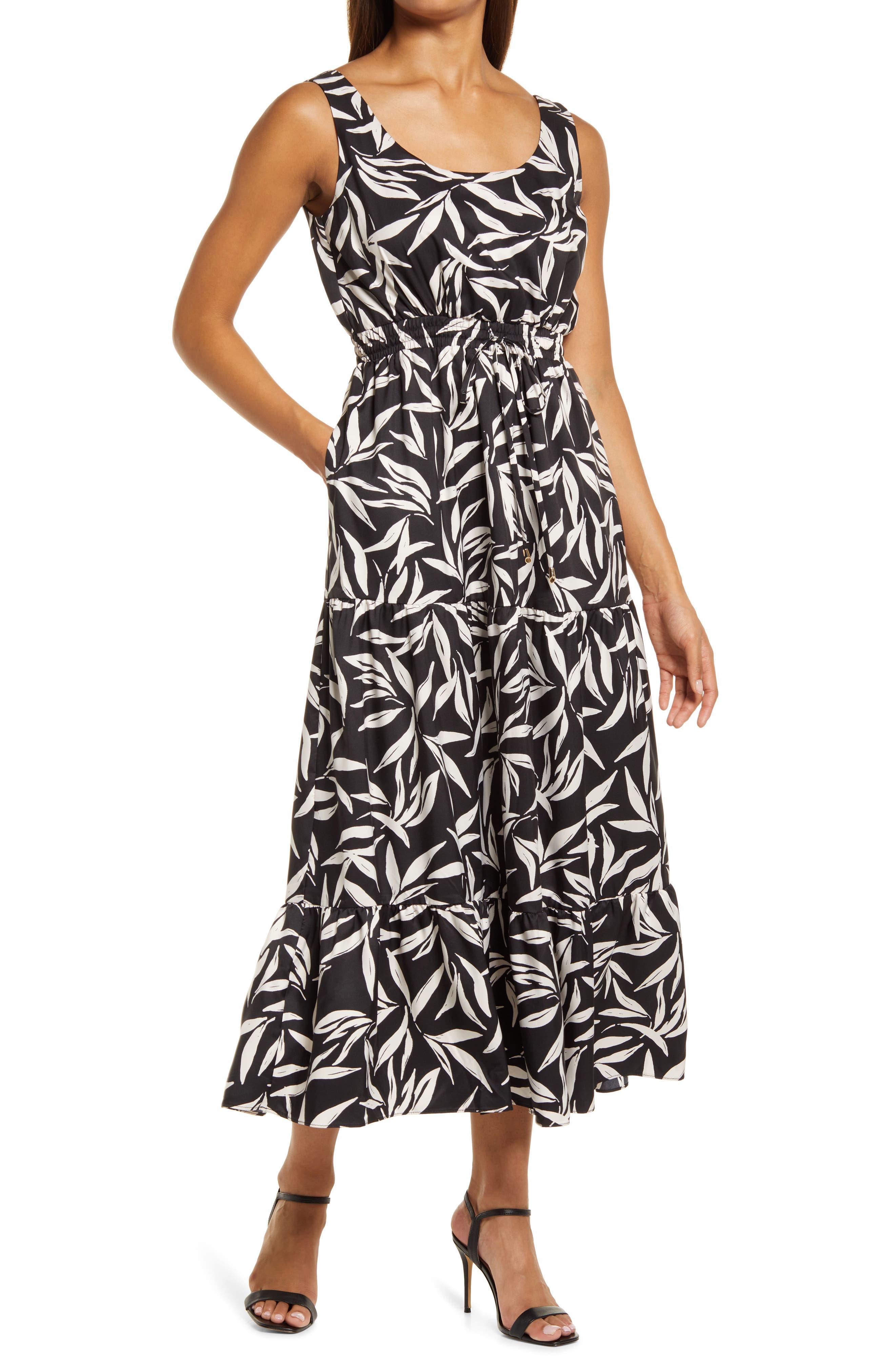 Leaf Print Sleeveless Tiered Dress