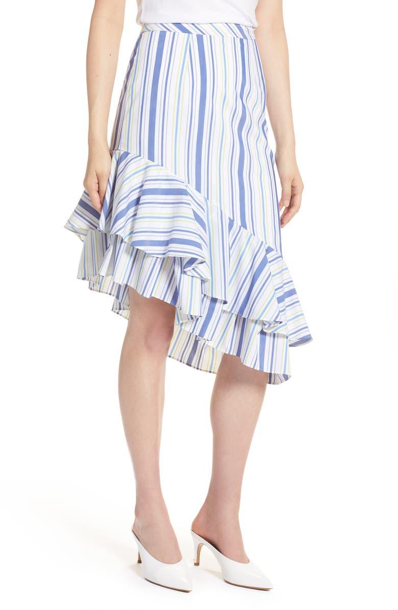 HALOGEN<SUP>®</SUP> Ruffle Hem Stripe Skirt, Main, color, WHITE MULTI STRIPE