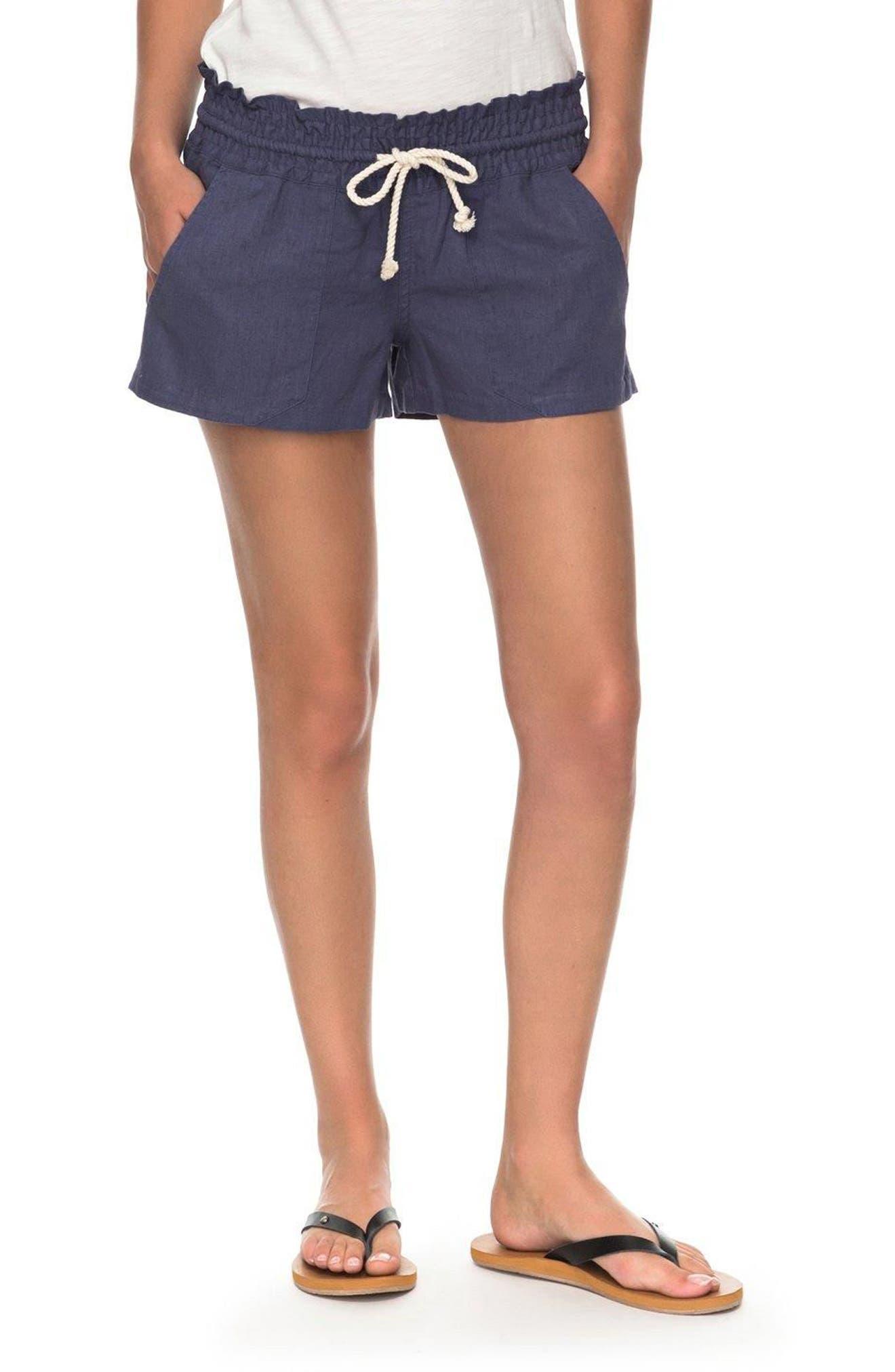 ,                             'Oceanside' Linen Blend Shorts,                             Main thumbnail 7, color,                             412