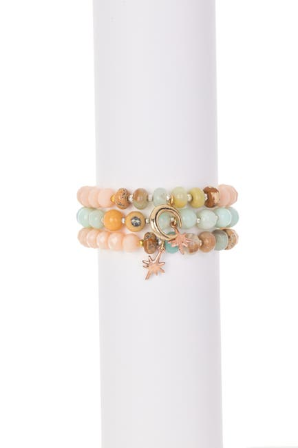 Image of Nakamol Design Amazonite Beaded Triple Row Stretch Bracelet