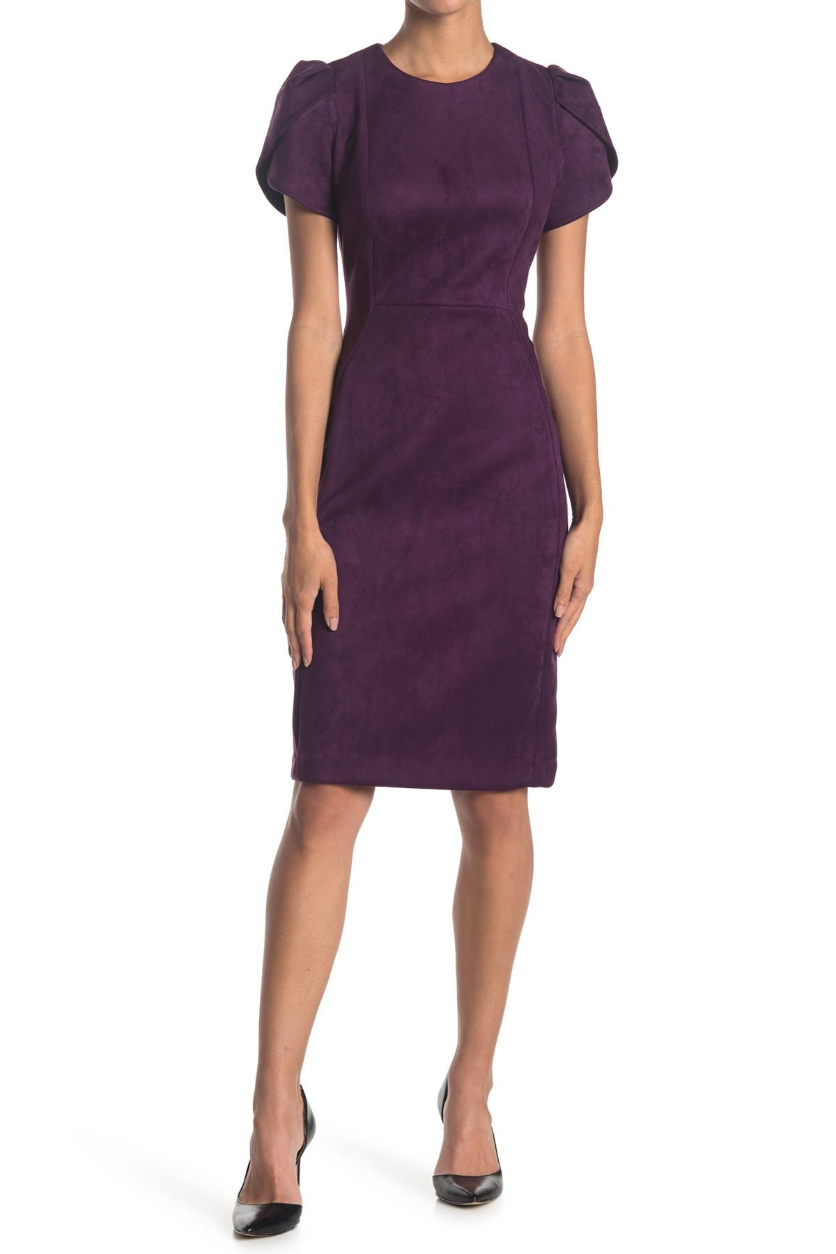 Image of Calvin Klein Tulip Sleeve Sheath Dress