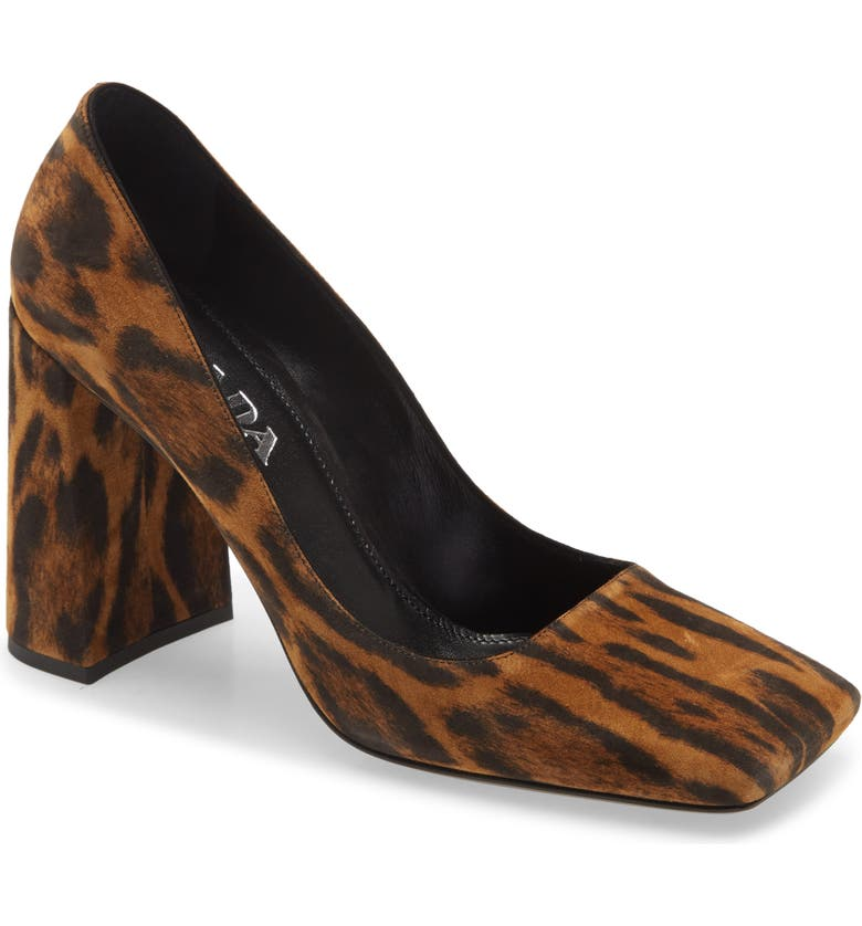 PRADA Square Toe Block Heel Leopard Print Pump, Main, color, MIELE