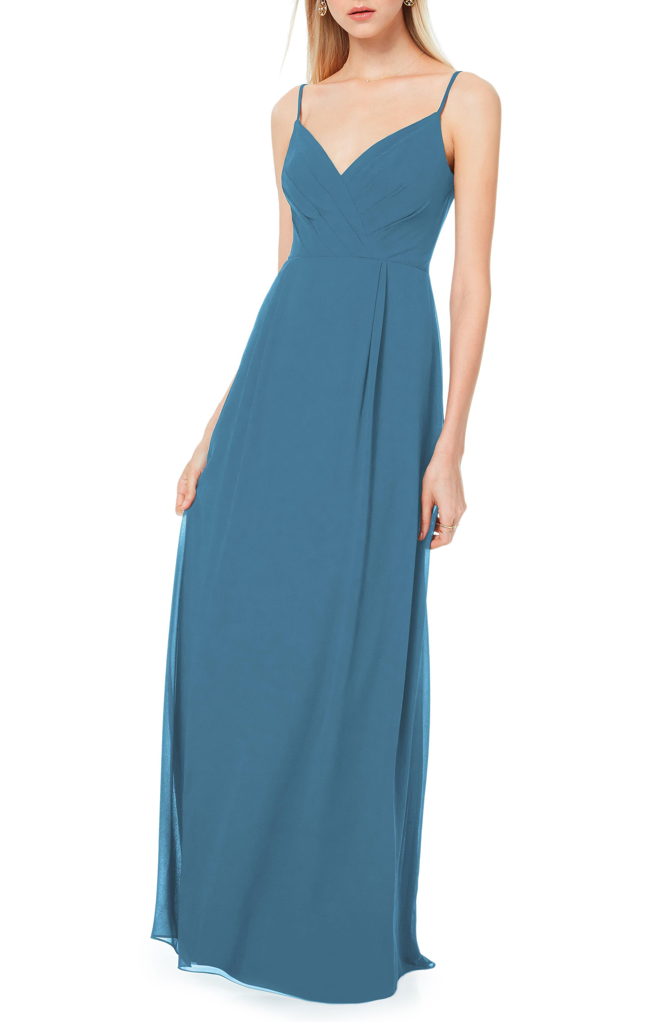 #levkoff Pleated Bodice Chiffon Gown, Grey