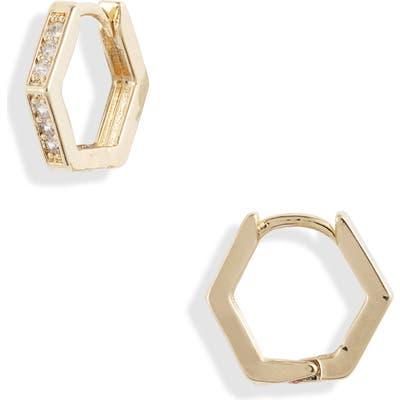 Jules Smith Crystal Hexagonal Hoop Earrings