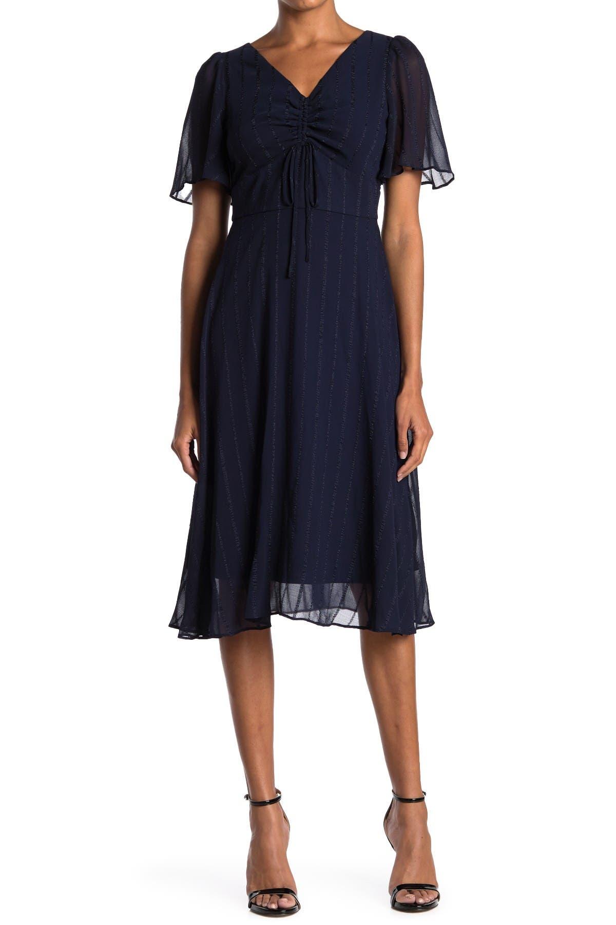 Image of Gabby Skye Striped V-Neck Flutter Sleeve Midi Dress