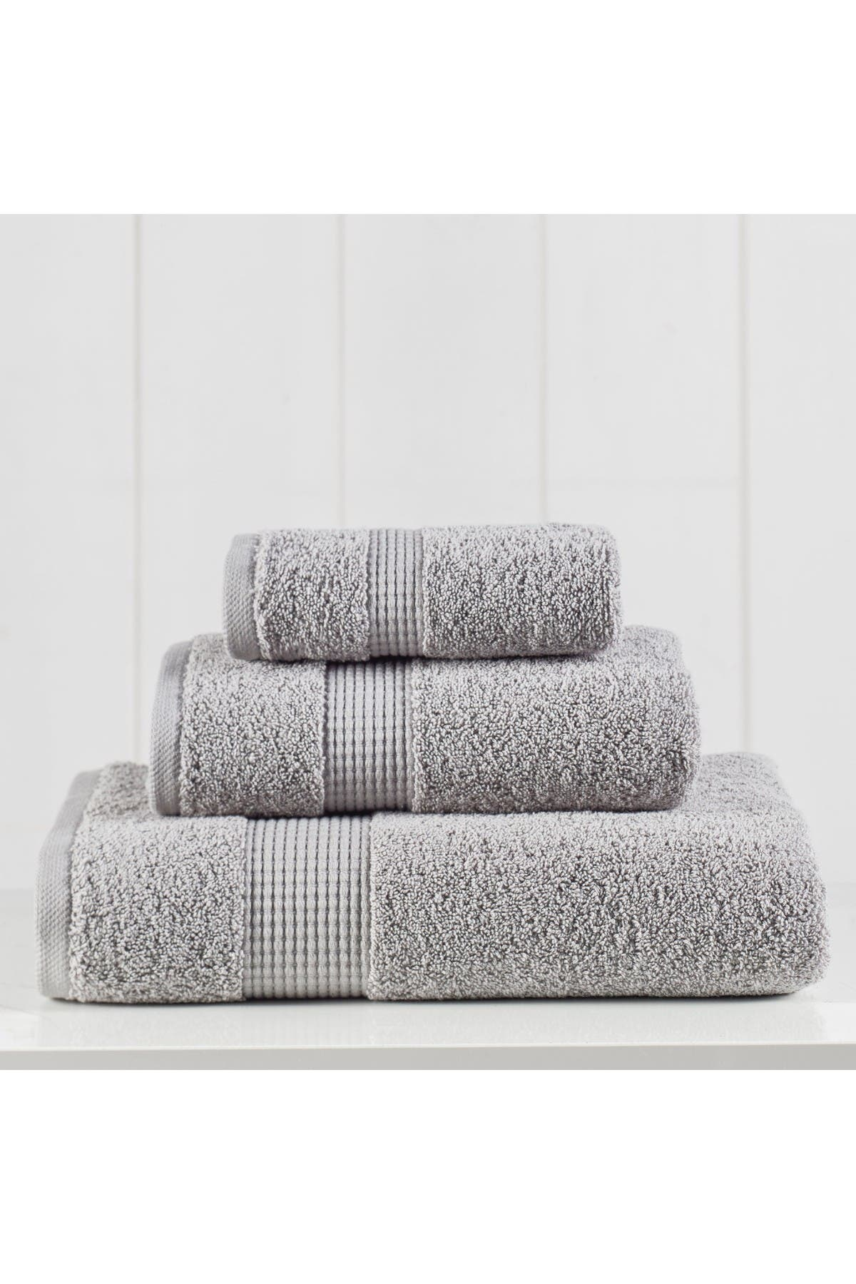 Image of Modern Threads Manor Ridge Turkish Cotton 3-Piece Towel Set - Gray
