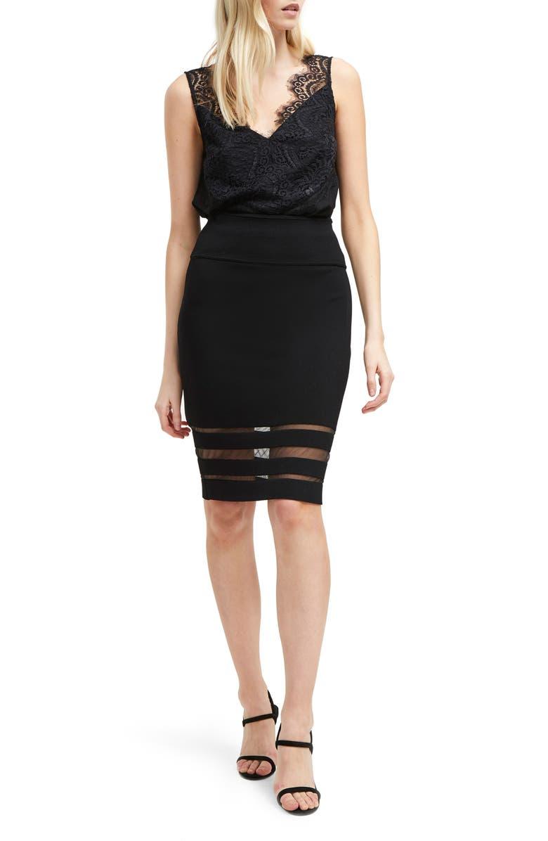 FRENCH CONNECTION Kara Crepe Skirt, Main, color, 001