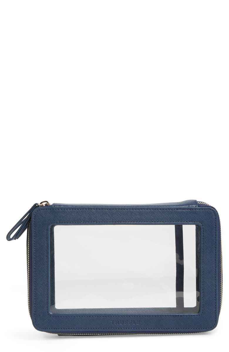 TRUFFLE Jumbo Clarity Jetset Cosmetics Case, Main, color, NAVY