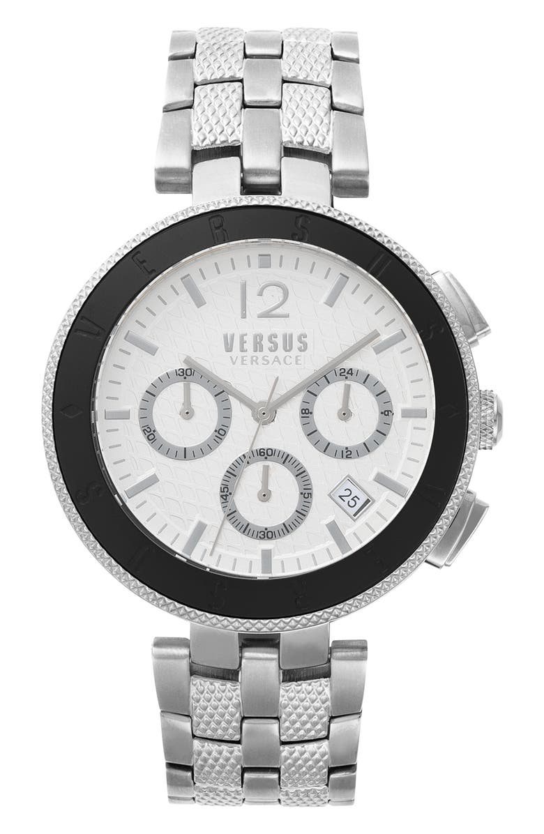 VERSUS VERSACE Versace Logo Chronograph Bracelet Watch, 44mm, Main, color, SILVER/ WHITE/ BLACK