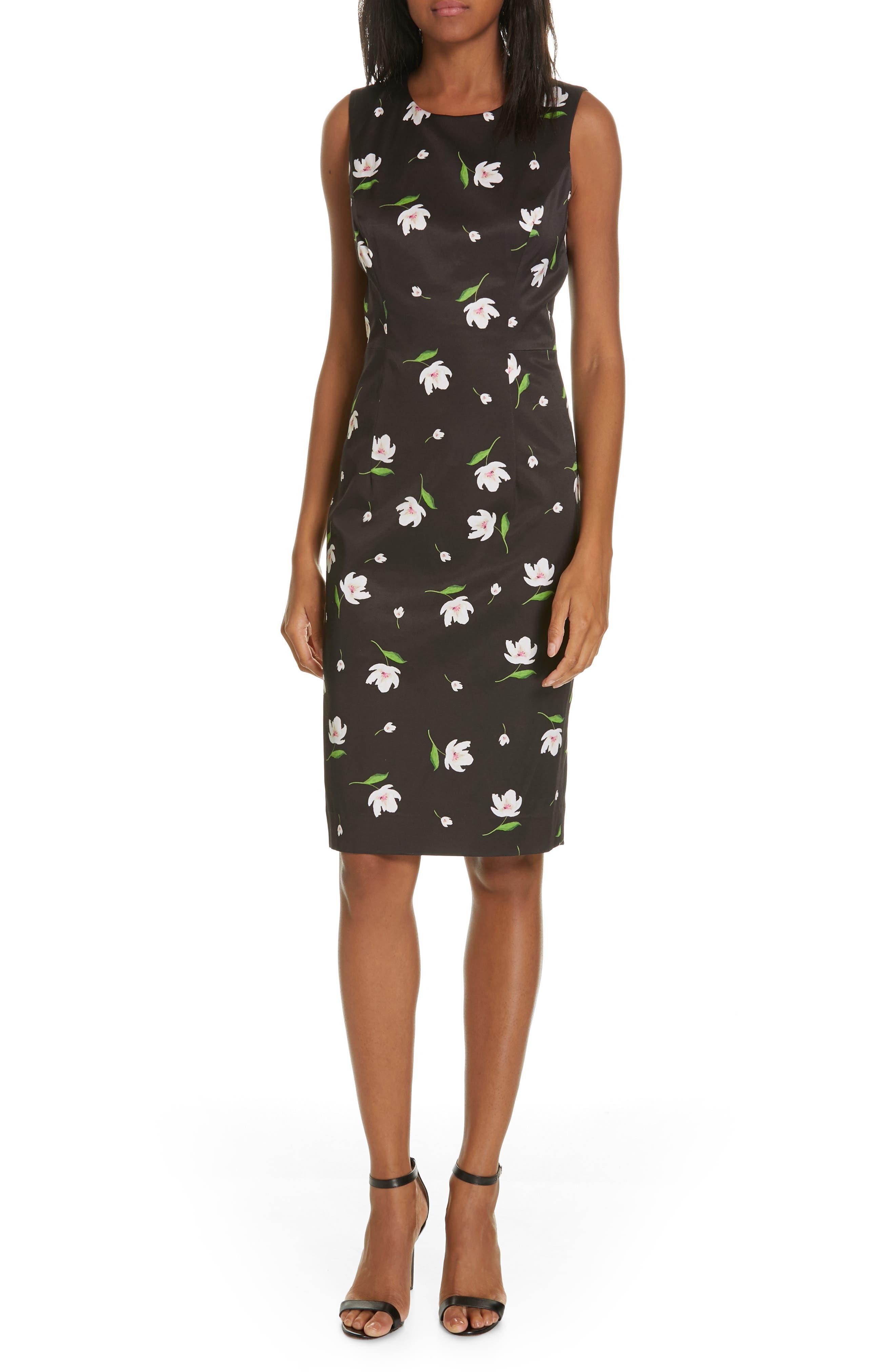 Milly Kendra Floral Print Sheath Dress, Black