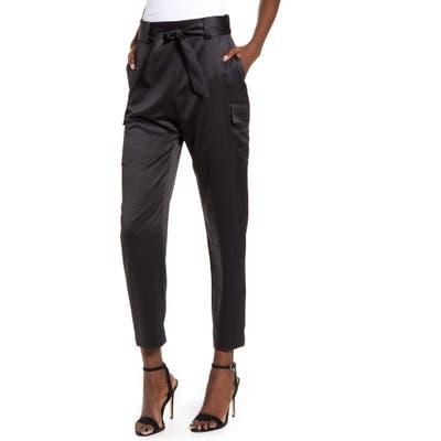 Leith Satin Cargo Pants, Black